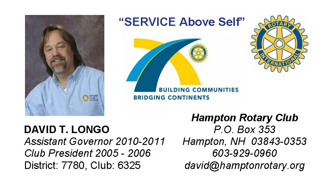 David T. Longo, Assistant Governer of the Hampton Rotary Club, 2010-2011